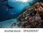 two freedivers swimming... | Shutterstock . vector #394200547