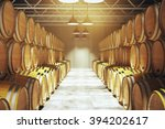 Numerous Wooden Barrels In...
