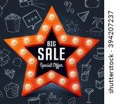vector big sale retro light... | Shutterstock .eps vector #394207237