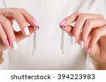 girl with beautiful manicure... | Shutterstock . vector #394223983