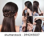 simple hairstyle for long and... | Shutterstock . vector #394245037