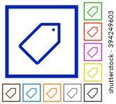 set of color square framed tag...