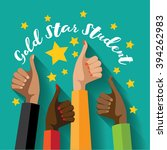 gold star student thumbs up... | Shutterstock .eps vector #394262983