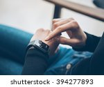 closeup photo of female hand... | Shutterstock . vector #394277893