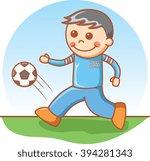 boy playing soccer   Shutterstock . vector #394281343