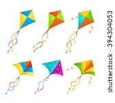 colorful kite set on white... | Shutterstock .eps vector #394304053