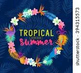 vivid tropical wreath vector.   Shutterstock .eps vector #394315573