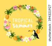 a vector tropical themed wreath. | Shutterstock .eps vector #394321927