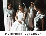 beautiful bride   bridesmaids...   Shutterstock . vector #394328137