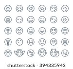 set of thin line smile... | Shutterstock .eps vector #394335943