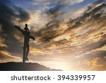 silhouette jesus christ on... | Shutterstock . vector #394339957