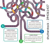 set of intertwining roads with... | Shutterstock .eps vector #394361437