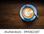 top view of blue cup of... | Shutterstock . vector #394362187