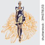 abstract sketch of a model in... | Shutterstock .eps vector #394378153