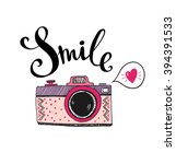 retro photo camera with stylish ... | Shutterstock .eps vector #394391533