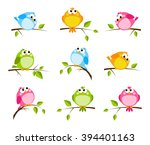 set of cute color birds | Shutterstock .eps vector #394401163