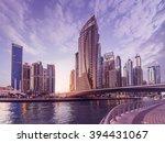 skyline of dubai marina in the... | Shutterstock . vector #394431067