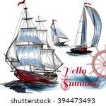 illustration with vector ships... | Shutterstock .eps vector #394473493