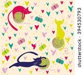 cute cat seamless pattern.... | Shutterstock .eps vector #394530793
