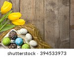 easter card with colorful eggs... | Shutterstock . vector #394533973