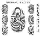 finger print line icons or... | Shutterstock .eps vector #394570363