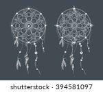 dream catcher. ornament round... | Shutterstock .eps vector #394581097