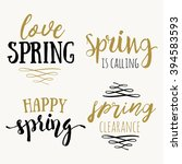 hello spring hand drawn... | Shutterstock .eps vector #394583593