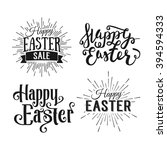 happy easter greeting card.... | Shutterstock . vector #394594333