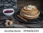 pancakes with raspberry jam and ... | Shutterstock . vector #394606243