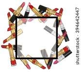 lipstick frame illustration | Shutterstock . vector #394642447