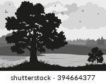 evening forest landscape  oak... | Shutterstock .eps vector #394664377