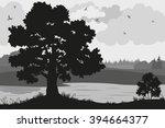 evening forest landscape  oak... | Shutterstock .eps vector #394664377