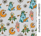 seamless pattern with sacred...   Shutterstock .eps vector #394668853