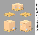 cardboard boxes on the pallets. ... | Shutterstock .eps vector #394678957