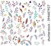 vector set of plants  leaves... | Shutterstock .eps vector #394687927