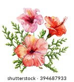 watercolor painting. red... | Shutterstock . vector #394687933