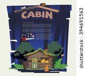 little wood cabin log  in the... | Shutterstock .eps vector #394691563