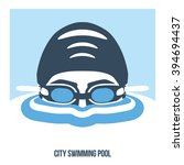 premium logo labels swimmer's... | Shutterstock .eps vector #394694437