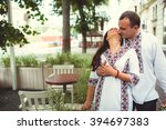 beautiful couple in ukrainian... | Shutterstock . vector #394697383