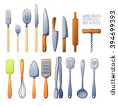 a set of cutlery spoon  fork ... | Shutterstock .eps vector #394699393