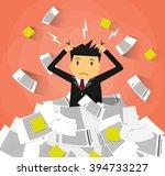stressed cartoon businessman in ... | Shutterstock .eps vector #394733227