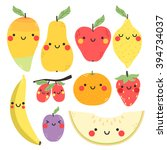 cute set with cartoon mango ... | Shutterstock .eps vector #394734037