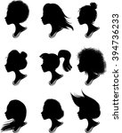 woman profile silhouettes  ... | Shutterstock .eps vector #394736233