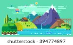mountain landscape. the hotel... | Shutterstock .eps vector #394774897