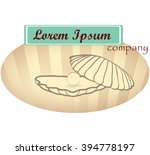 vector sketch of oval logo with ... | Shutterstock .eps vector #394778197