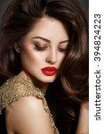 bright makeup woman red lips... | Shutterstock . vector #394824223