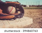old vintage baseball and glove... | Shutterstock . vector #394860763