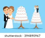 wedding cake with bride and... | Shutterstock . vector #394890967