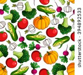 fresh tomato and pumpkin ... | Shutterstock .eps vector #394892533