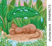 mouse is slepping on a piece of ...   Shutterstock .eps vector #394898173